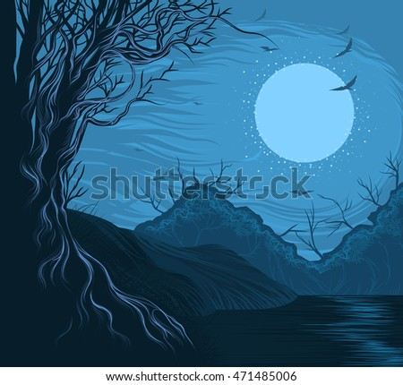 Beautiful lake hand drawing vector nature landscape background