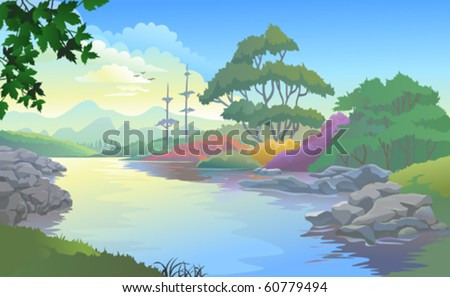 Beautiful landscape of a river flowing by hills and plains - stock vector