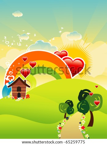 beautiful landscape vector - stock vector