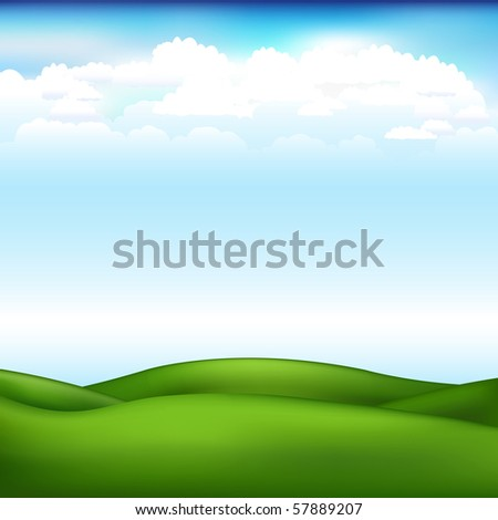 Beautiful Landscape With Blue Sky And Clouds - stock vector