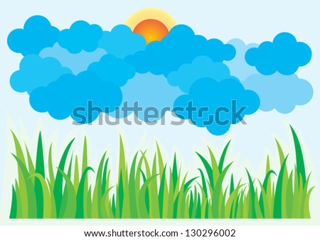 Beautiful landscape with grass, clouds and sun - stock vector