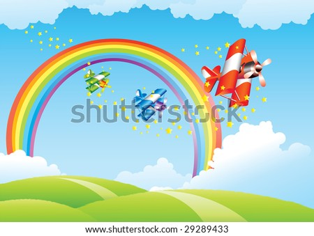Beautiful landscape with rainbow and flying airplanes - stock vector