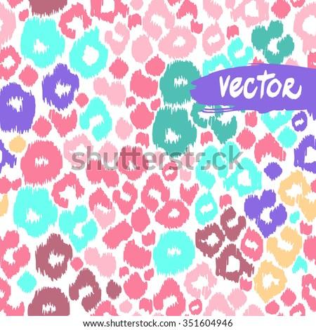 Beautiful leopard pattern seamless. Light pink animal print background. Blue spots, aquamarine spots vector leo and leopard spots pattern design. Hand drawn floral template. - stock vector