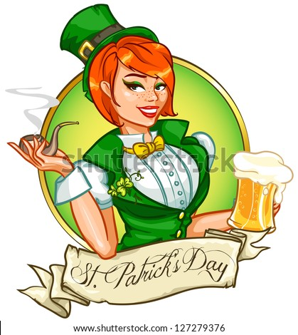 Beautiful leprechaun girl with beer and smoking pipe, St. Patrick's Day logo design with space for text, isolated - stock vector