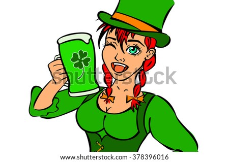 Beautiful leprechaun girl with beer and smoking pipe, St. Patrick's Day logo design with space for text,  art