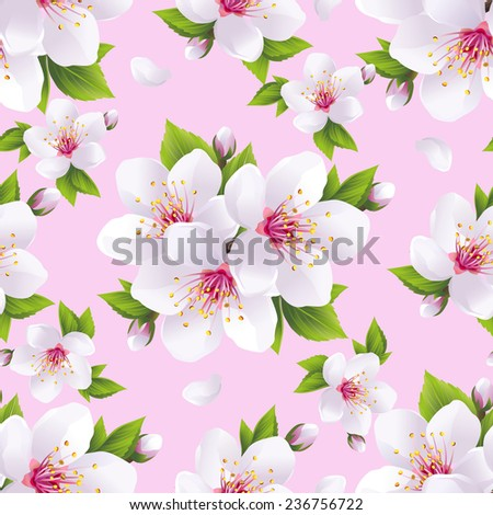 Beautiful light background seamless pattern with white sakura blossom - japanese cherry tree. Floral spring pink wallpaper. Vector illustration - stock vector