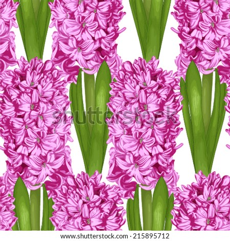Beautiful lilac vertical seamless background with hyacinth. Hand-drawn with effect of drawing in watercolor - stock vector