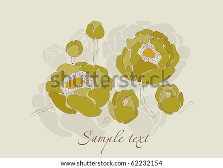 Beautiful Lilly Flower Invitation Card in vector - stock vector