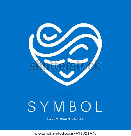BEAUTIFUL LINE - FACE IN HEART SHAPE , ICON / LOGO , WHITE ON BLUE BACKGROUND - stock vector