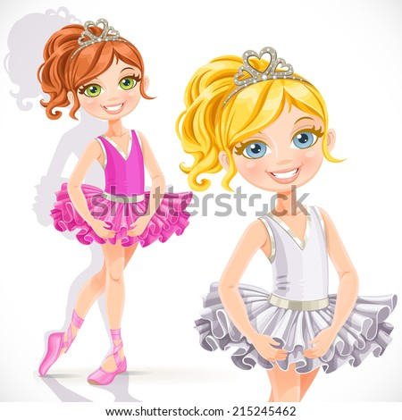 Beautiful little ballerina girl isolated on a white background - stock vector