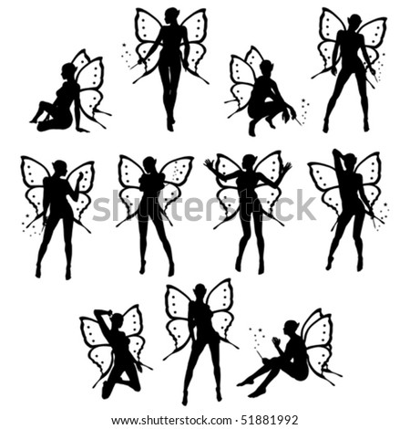 Beautiful little fairy silhouettes vector collection - stock vector