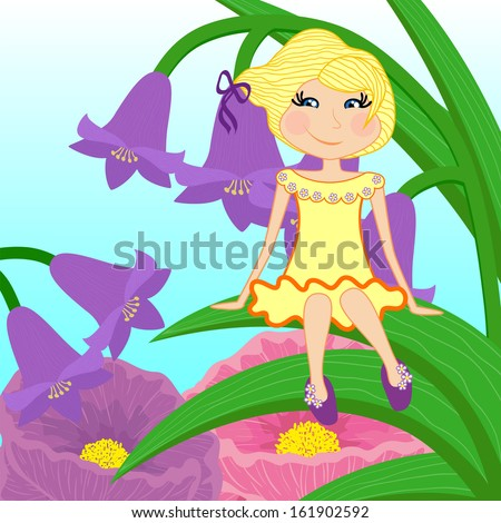 Beautiful little girl sits on leaf   - stock vector