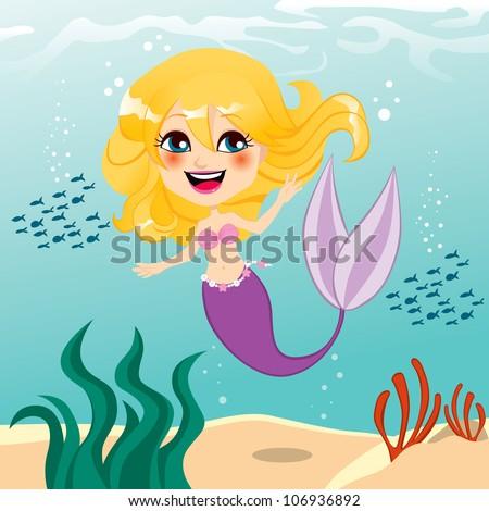 Beautiful little mermaid girl happy swimming underwater - stock vector