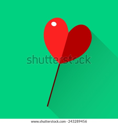 Beautiful lollipop with heart-shaped. Happy Valentines Day Card. Vector illustration. EPS 10. Love theme. Icon. Flat. - stock vector