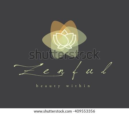 BEAUTIFUL LOTUS FLOWER VECTOR LOGO / SYMBOL DESIGN  - stock vector