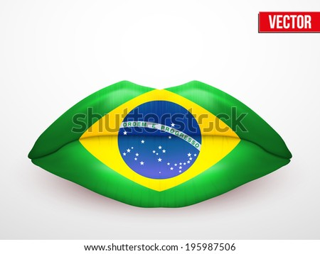 Beautiful luscious lips with flag of Brazil texture. Vector Illustration. Isolated on white - stock vector