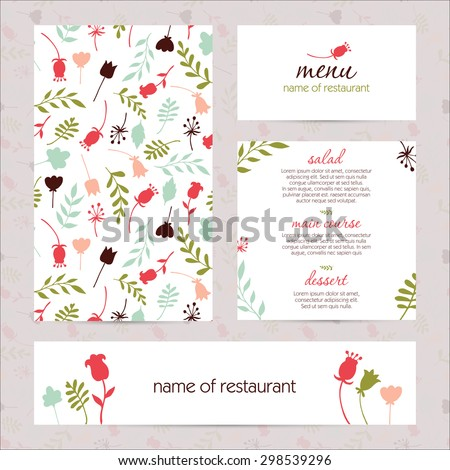 beautiful menu design for cafe and restaurant. set with floral and sketch style seamless pattern. Decor cards, postcards, wedding printing. Hand drawn vector illustration