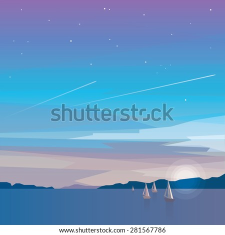 beautiful minimalistic ocean view on evening night landscape with sailing boats on the sea and airplane flights in the sky. Travel, adventure, tourism concept - stock vector