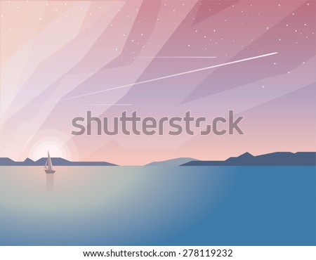 beautiful minimalistic summer time ocean view landscape with sailing boat on sunset and airplanes traveling through the sky filled with stars - stock vector