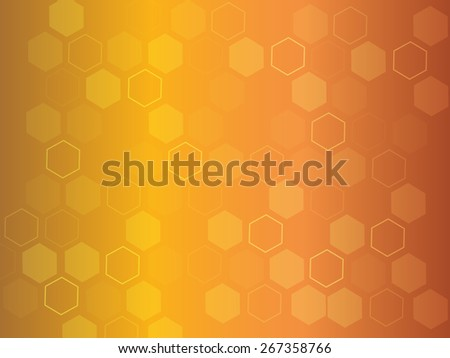 Beautiful modern abstract orange background with many hexagons