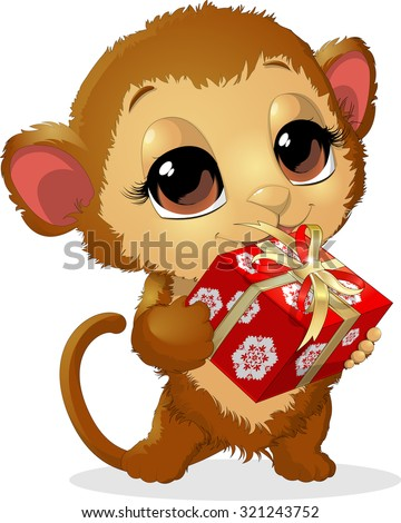 beautiful monkey, which holds in paws a delicious box - stock vector