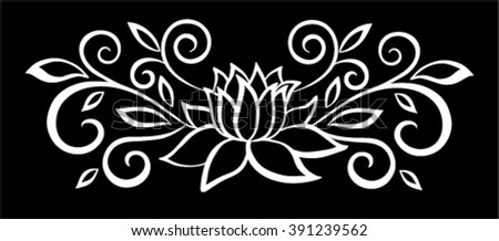 beautiful monochrome black and white flowers and leaves isolated. Floral design for greeting card and invitation of wedding, birthday, Valentine's Day, mother's day and seasonal holiday - stock vector
