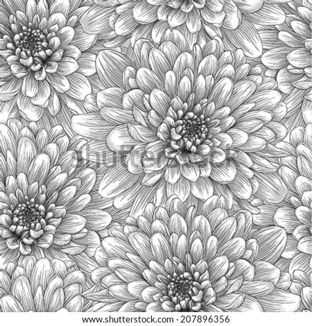 Beautiful monochrome, black and white seamless background with dahlia. Hand-drawn with effect of drawing in watercolor - stock vector