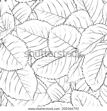 Beautiful monochrome, black and white seamless background with leaves - stock vector