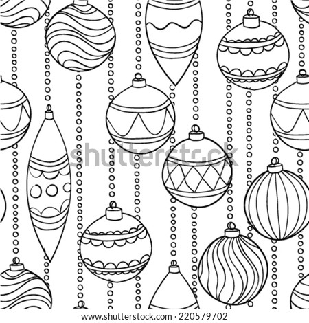Beautiful  monochrome, black and white seamless Pattern With Christmas Balls - stock vector