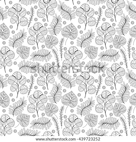 Beautiful monochrome Flowers set, Vector seamless pattern.
