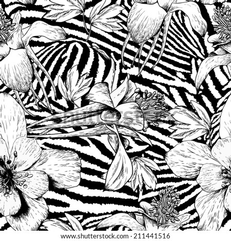 Beautiful monochrome seamless vintage flower pattern on zebra background  - stock vector