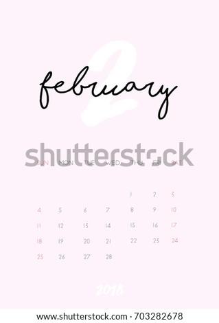 beautiful monthly calendar february 2018 year stock vector 703282678 shutterstock