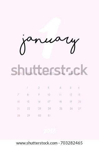 january 2018 monthly calendar