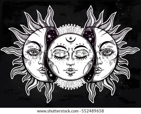 Half moon half sun art pictures to pin on pinterest for Half sun half moon tattoo