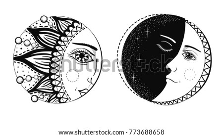 T Shirt Design Line Art : Beautiful moon sun faces vector illustration stock photo