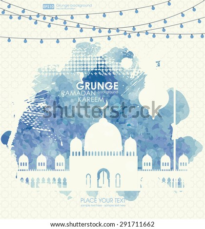 Beautiful mosque, made by colors splash for Islamic holy month of prayers, Ramadan Kareem celebrations.  Ramadan greetings background. View of mosque in blue grunge night background with shiny lights. - stock vector