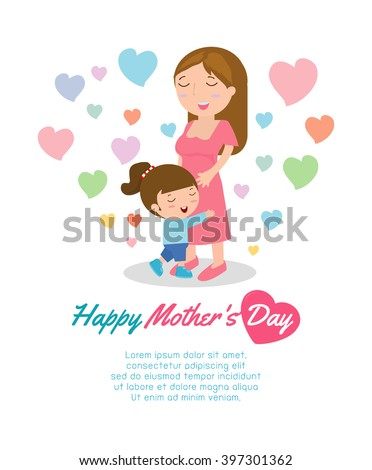 Beautiful mother with her daughter. Card of Happy Mothers Day.  - stock vector