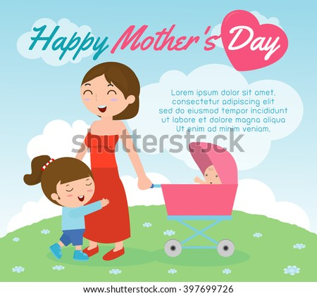 Beautiful mother with her daughter. Card of Happy Mothers Day. Vector illustration with beautiful women and child, happy mothers day card vector illustration - stock vector
