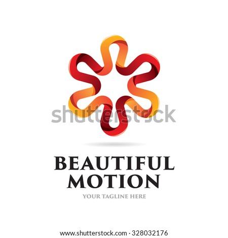 Beautiful Motion Icon Logo - stock vector