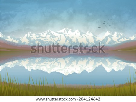 Beautiful mountain landscape with a clear lake and meadow - stock vector