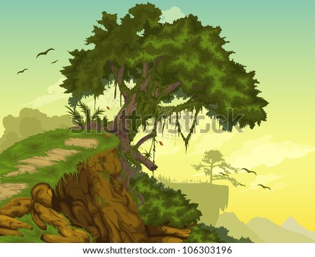 Beautiful mountainous background with tree vector