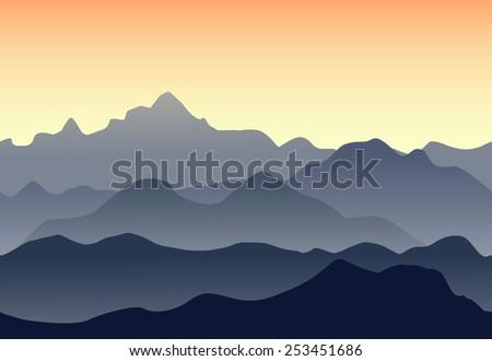 Beautiful mountains landscape. Seamless illustration - stock vector