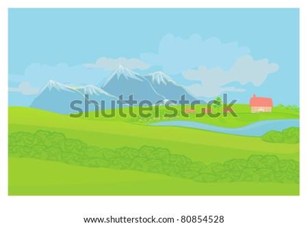 Beautiful mountains landscape - vector illustration - stock vector