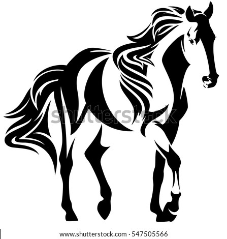 beautiful moving horse black and white outline - mustang vector design