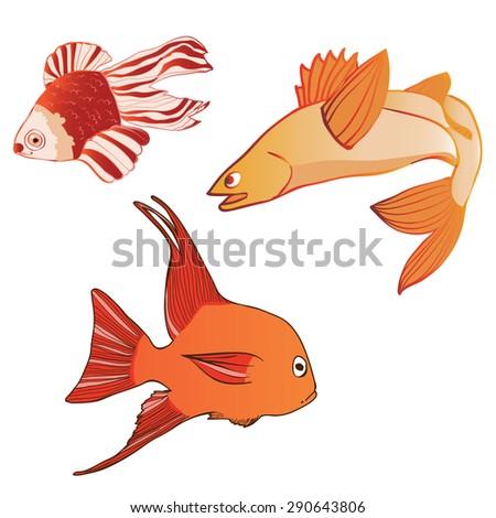 Beautiful multicolored iridescent emotional fish. Vector illustration - stock vector