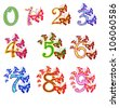 Beautiful multicolored numbers with butterflies - stock vector