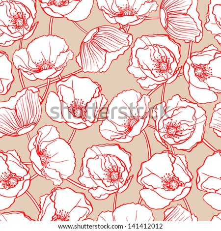 beautiful natural pattern with white poppies on a beige background. vector illustration  - stock vector