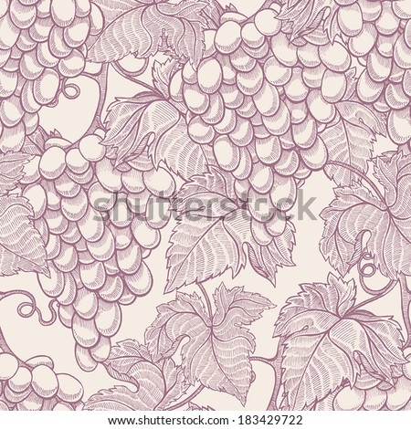 beautiful natural seamless vintage background with hand-drawn bunches of ripe grapes. vector illustration - stock vector