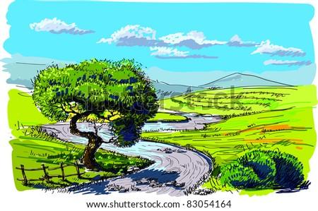 Beautiful nature background - stock vector