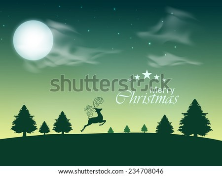 Beautiful nature view with moon, fir tree and reindeer on winter night background, greeting card design for Merry Christmas celebrations. - stock vector